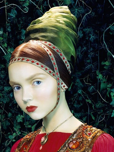 Happy birthday to Lily Cole. Photo by Miles Aldridge for Italian Vogue, 2005.