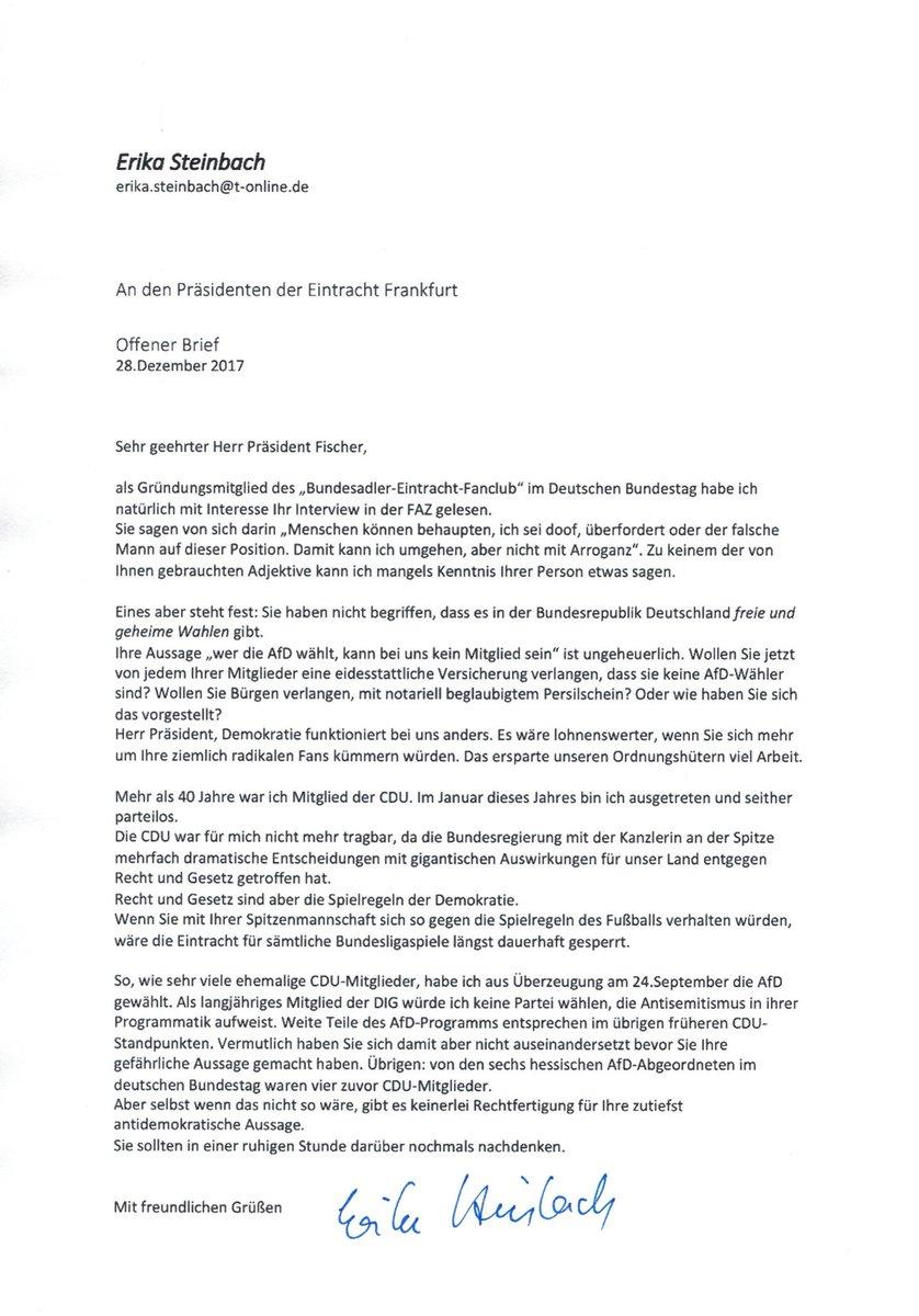 Erika Steinbach On Twitter Mein Offener Brief An Den Präsidenten
