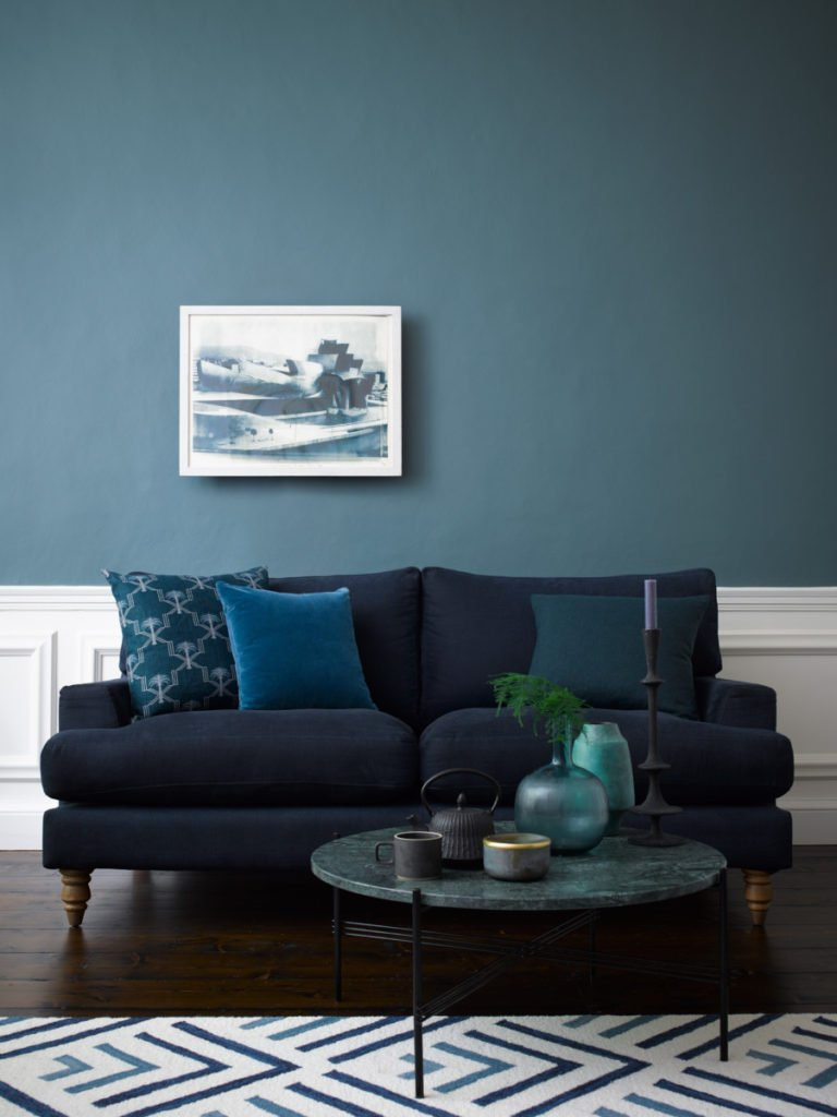 ... Mix Of Blue And Grey Pigment Harmonises Perfectly With This Midnight  Blue Sofa, While Our Estate Emulsion Finish, With Its Chalky Matt  Appearance, ...