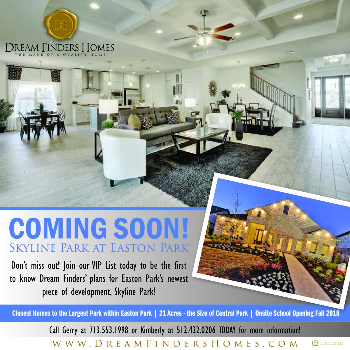 To Know Dream Finders Plans For Easton Park S Newest Piece Of Development Skyline More Information Please Contact Gerry At 713 553 1998 Or