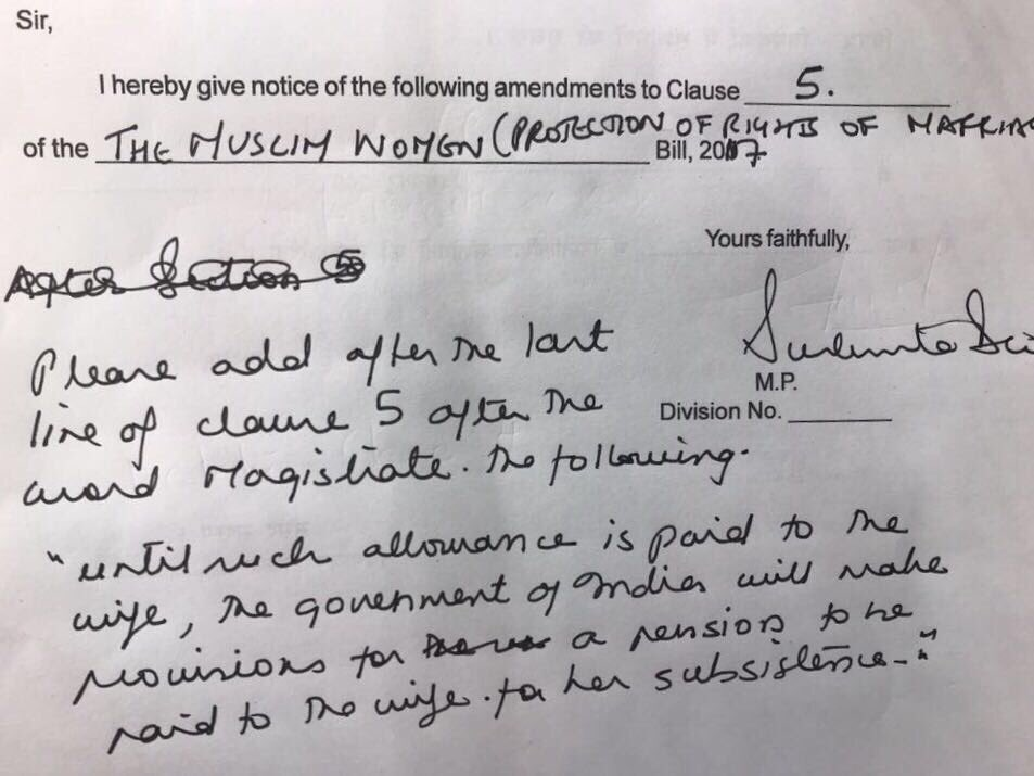 The GOI rejected  my amendment to the Triple Talaq bill to provide financial support to women during the period she is not maintained by her husband who is going to be prosecuted & is bound to resist paying any allowance.