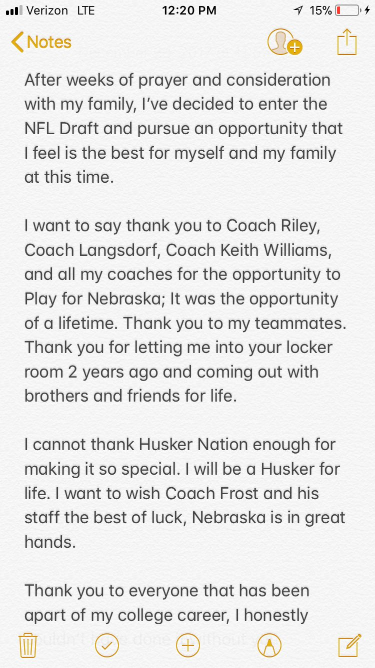 Tanner Lee On Twitter Quot To Husker Nation Thank You