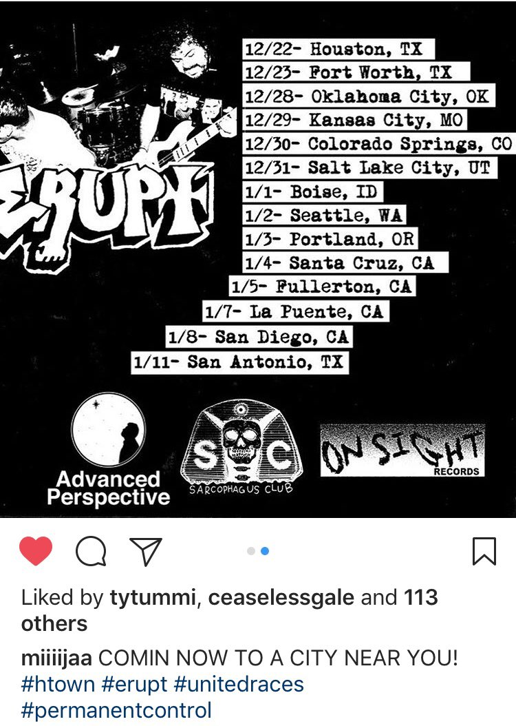This tour is officially on the road. Every great aspect of hard-core is blended with each band. Support United Races Erupt Permanent Control https://t.co/Jfumzlntf3