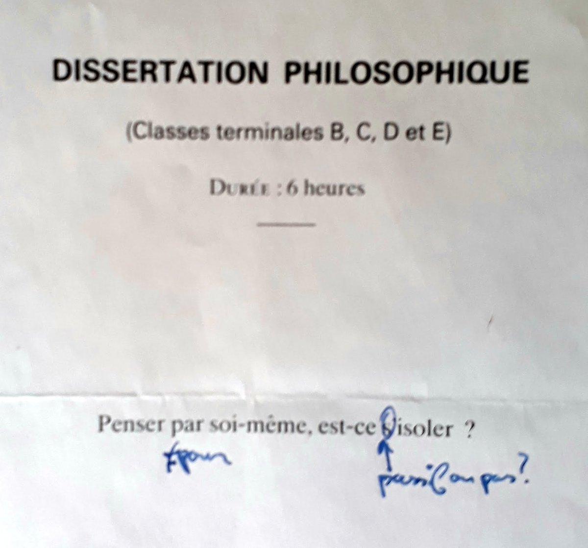 penser par soi meme est ce sisoler dissertation