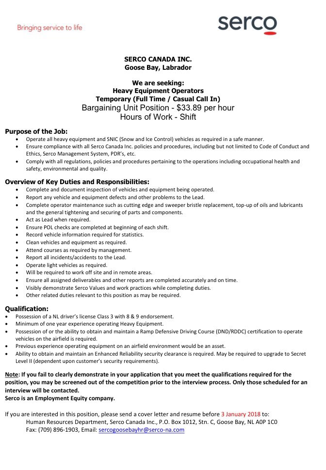 heavy equipment operator apprentice cover letter Heavy equipment operator job description sample, including duties, tasks, and responsibilities, which can be used in making a resume for the post.