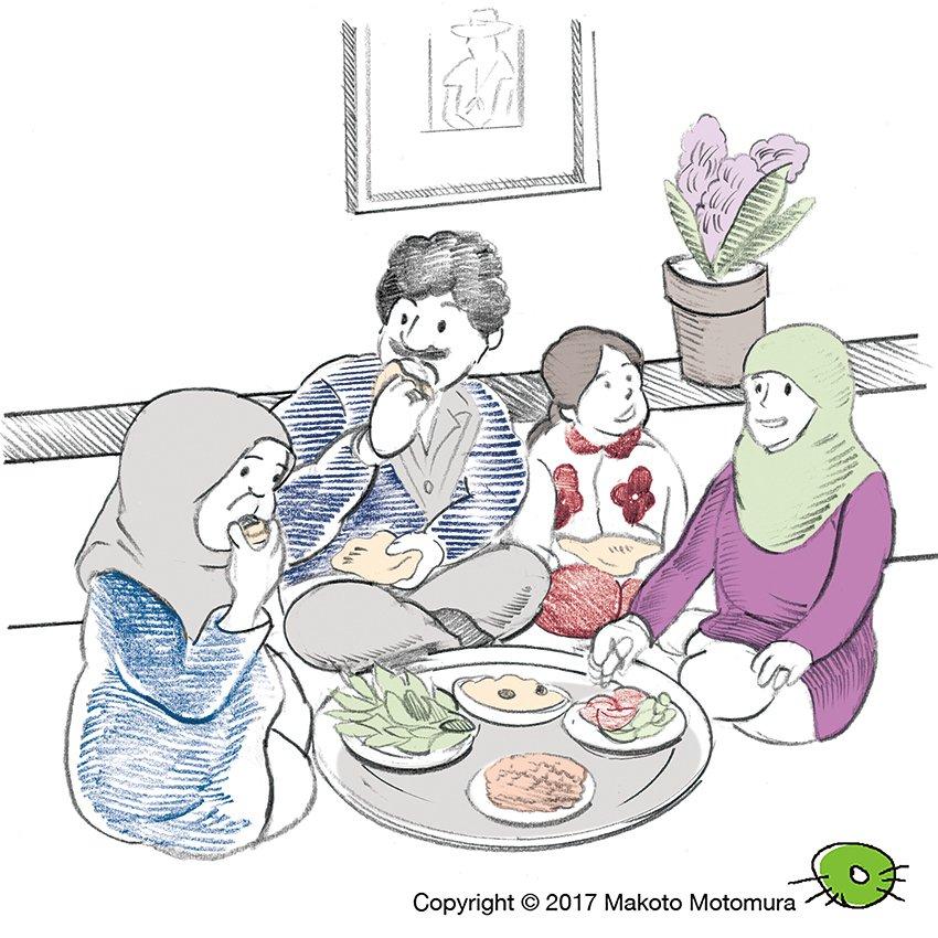 Motomuramakoto On Twitter 中東のとある家族の食事風景を描きました