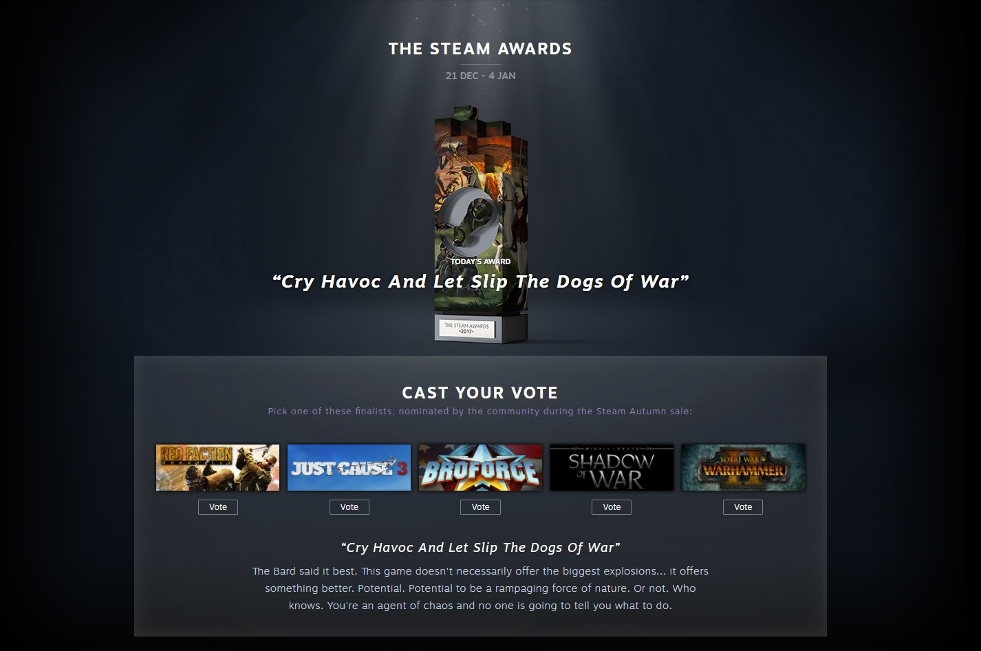 "And Let Slip The Dogs Of War wickedplayer494 on twitter: ""today on the steam awards, vote"