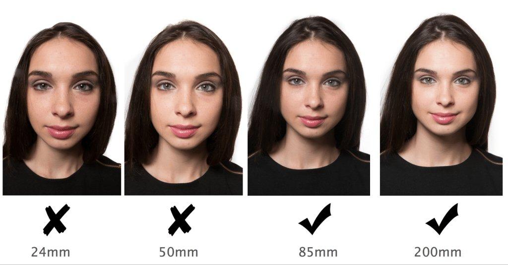 При близком фотографировании искажается лицо
