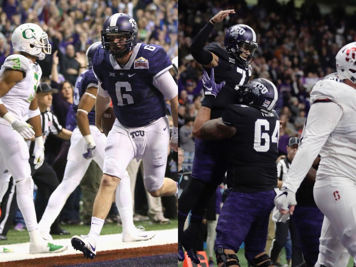 2 years ago: TCU trailed a Pac-12 team by 31 in the Alamo Bowl.  Tonight: TCU trailed a Pac-12 team by 18 in the Alamo Bowl.  TCU won both games.