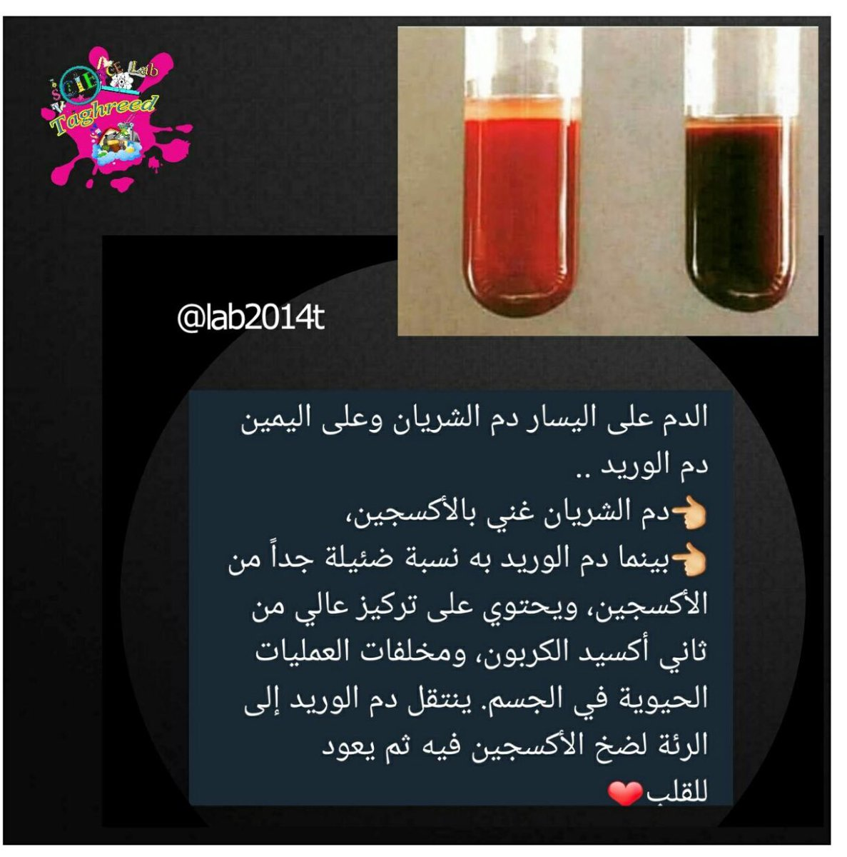 الواحة العلمية Auf Twitter الفرق بين لون دم الشريان ودم الوريد سبحان الله
