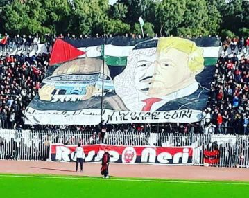 'Two faces of the same coin'  Incredible pro-Palestine rally by Ain Melilla football fans #tahiadjazair #Algeria #FreePalestine #football<br>http://pic.twitter.com/WX9QyzR3Yy
