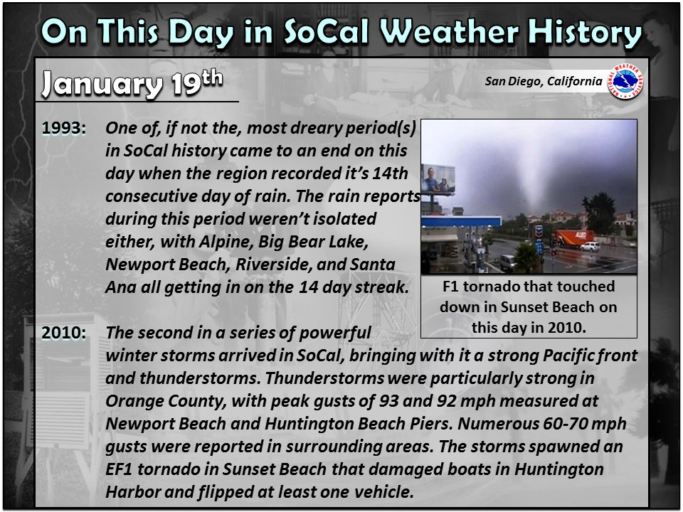 Notable SoCal weather history for January 19th. #CAwx #SoCal #SouthernCalifornia #SanDiegoWx #wxhistory https://t.co/CAr1pAKuW0