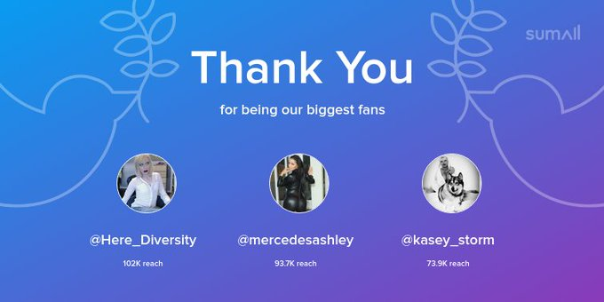 Our biggest fans this week: @Here_Diversity, @mercedesashley, @kasey_storm. Thank you! via https://t