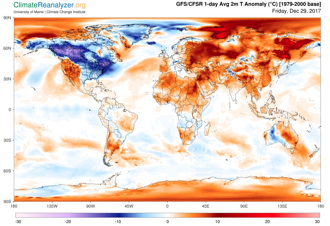 1) There is a difference between #weather and #climate.  2) Short-term #cold snaps will continue to occur in a warming climate. 3) 2017 will likely be a top three warmest year on record for the globe.  (Graphic: Univ. of Maine - Climate Change Institute)  https://t.co/kzuugeXi80