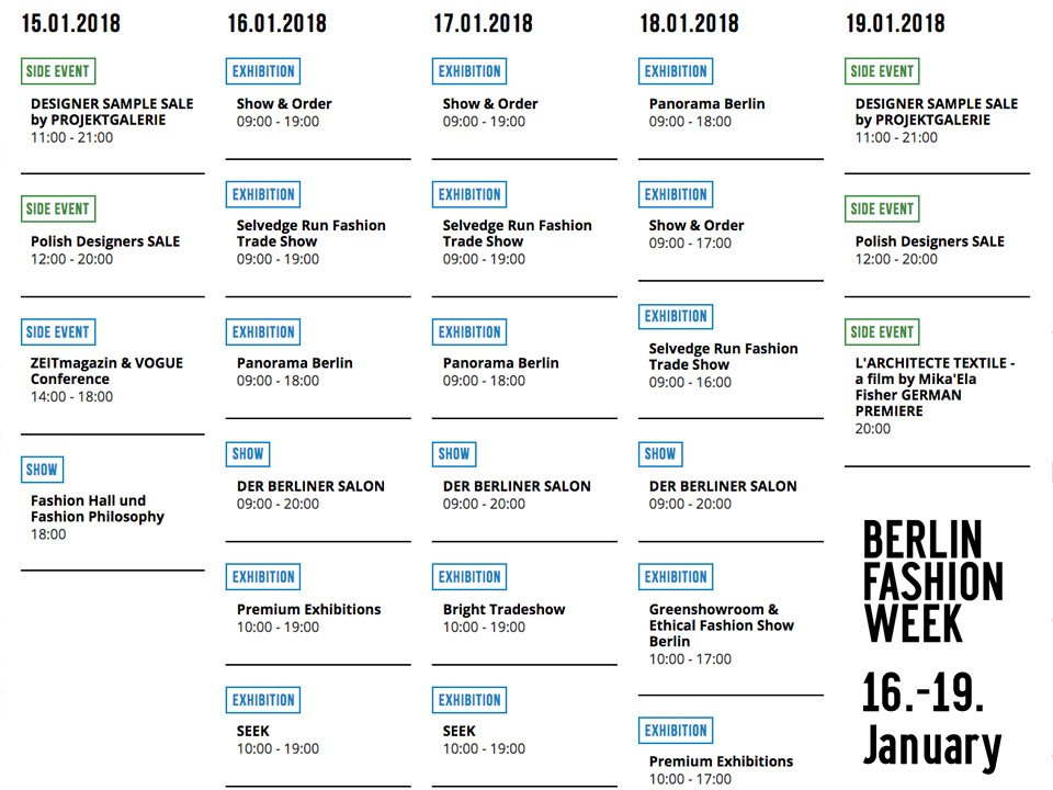 Berlin Fashion Week On Twitter The Official Calendar Is Filling Up