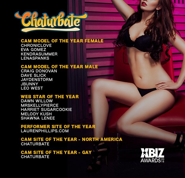 Congrats to all our @XBIZ Awards Noms! Best of luck! https://t.co/LkPRTlvf1N #awards #chaturbate #winning