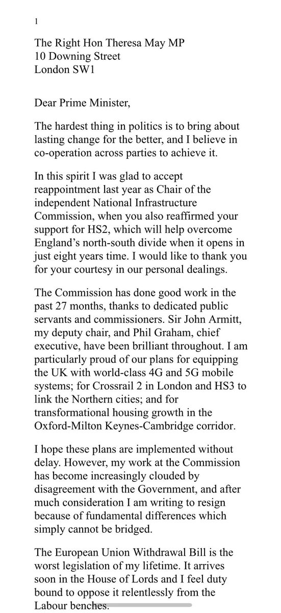 "Full extraordinary @Andrew_Adonis resignation letter from Chair of UK infrastructure commission over EU Withdrawal Bill - ""worst legislation of my lifetime"" for a ""Ukip allied Brexit ..fraught with danger"" and ""indefensible bailout"" of East Coast Mainline:"