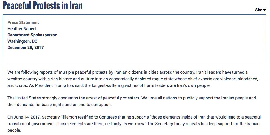 We are following reports of multiple peaceful protests by Iranian citizens. The United States strongly condemns the arrest of peaceful protesters in #Iran. We urge all nations to publicly support the Iranian people. https://t.co/4spSF6IX1i #Iranprotestsprotests