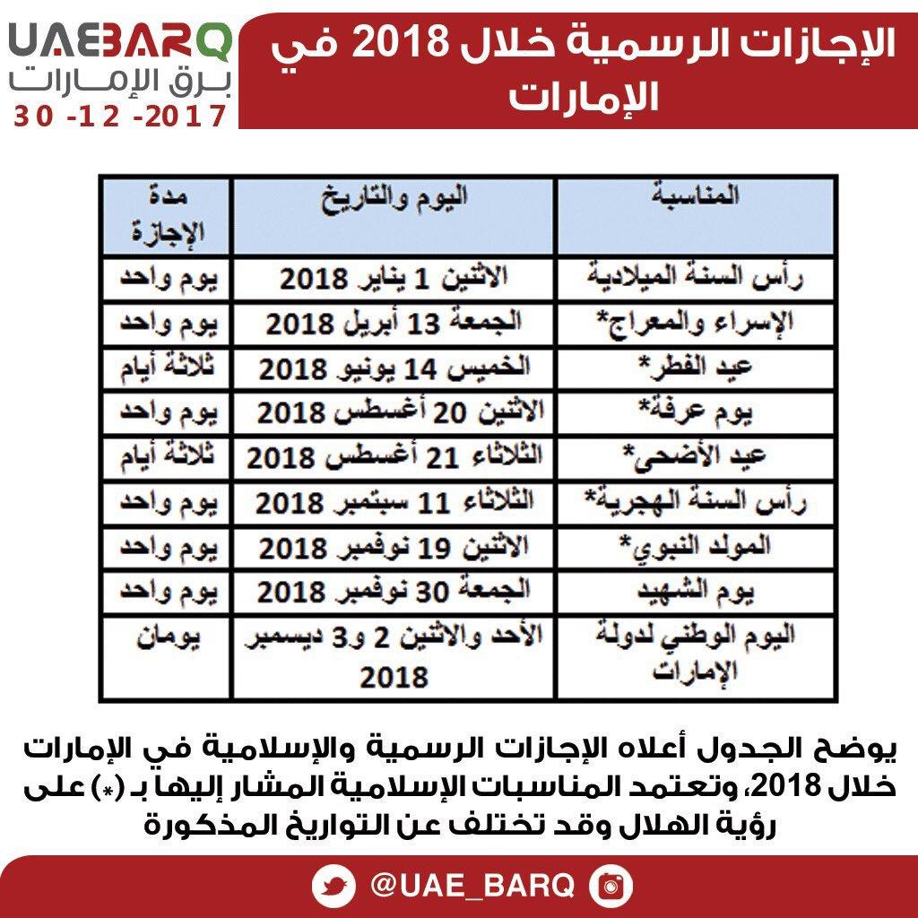 برق الإمارات No Twitter الإجازات الرسمية خلال 2018 في الإمارات برق الإمارات