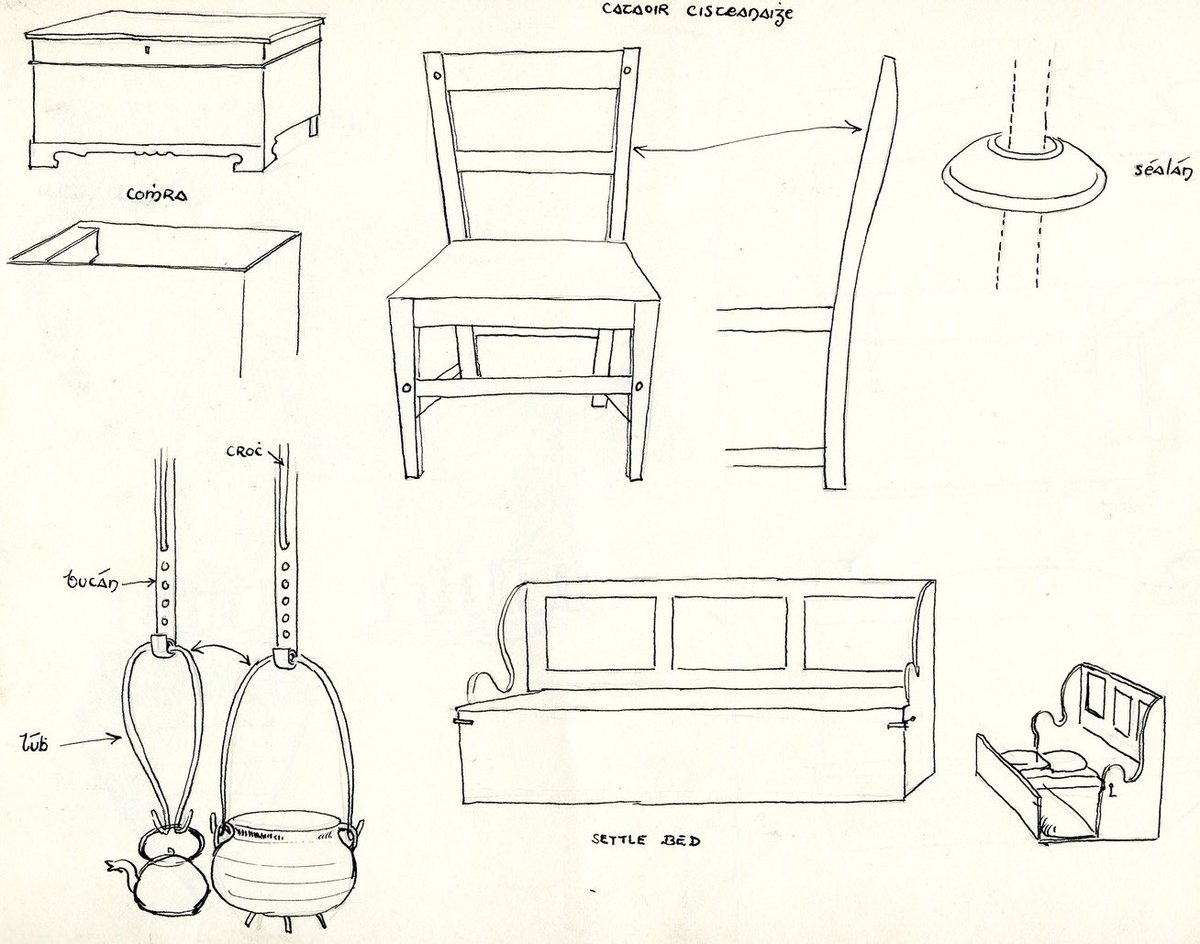 Beautiful Drawings Of Simple Irish Cottage Furniture From Duchasie Included Are A Chest Chair And Settlebed