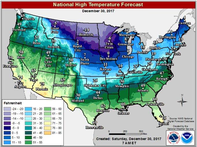 High temperature forecast for Sat, Dec 30