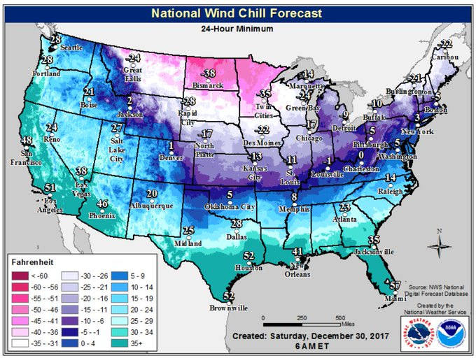 Coldest Wind Chill forecast Saturday through Saturday night.