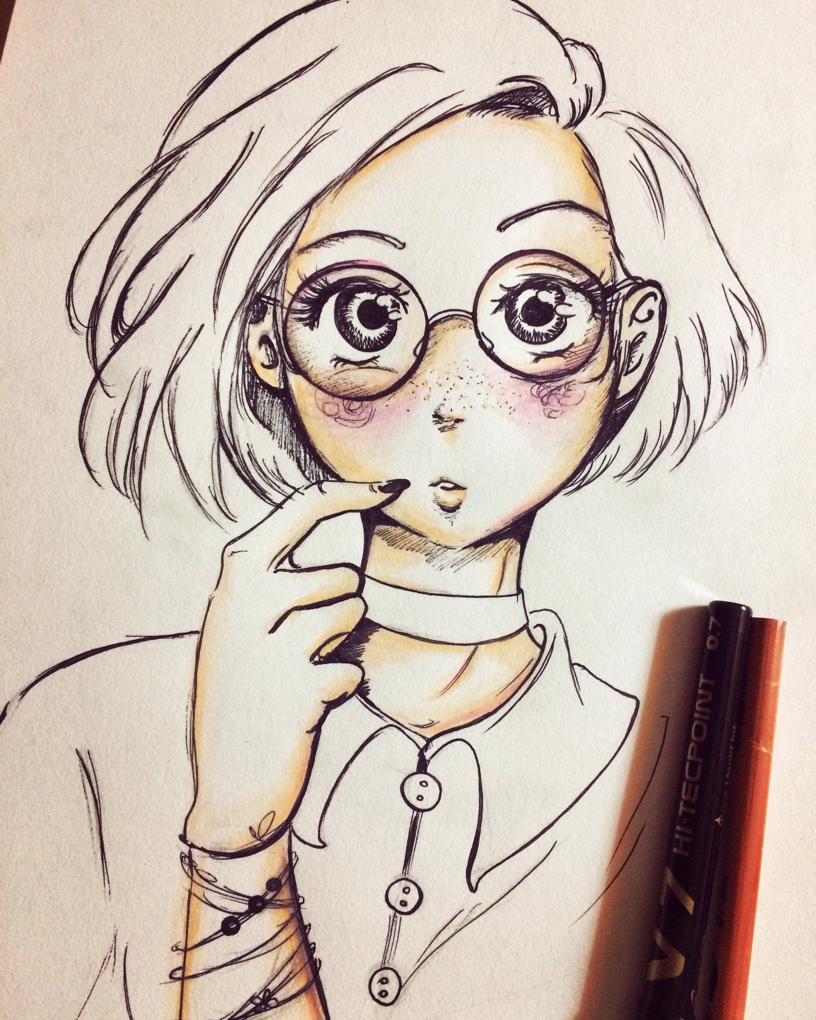Ilaria laria♡ on twitter glasses girl art drawing manga anime pink illustration sketch eyes nerd otaku japan love black emotions