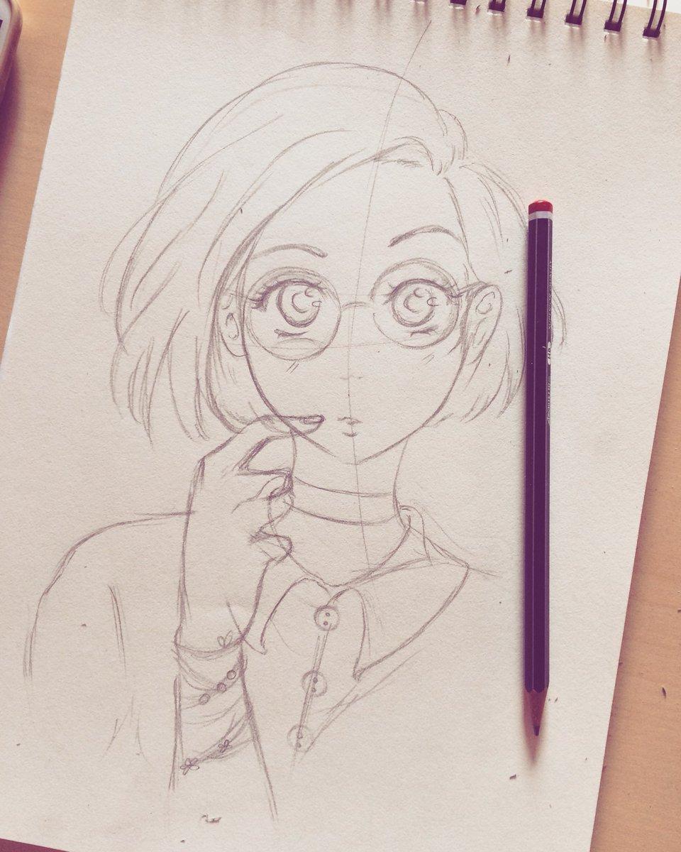 Glasses girl art drawing manga anime pink illustration sketch eyes nerd otaku japan love black emotions drawings pic twitter com lkpd5eu6or