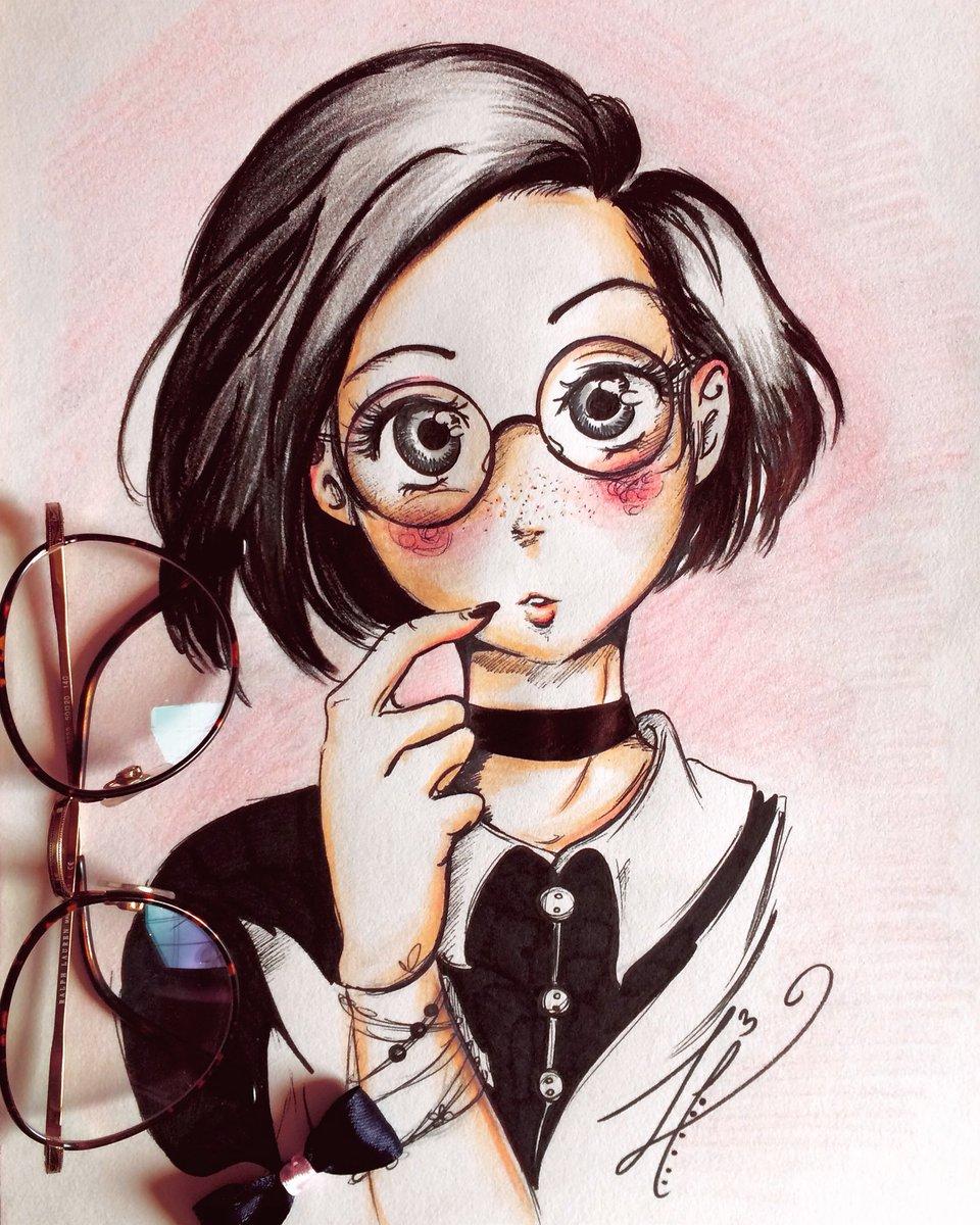 Ilaria Laria On Twitter Glasses Girl Art Drawing Manga