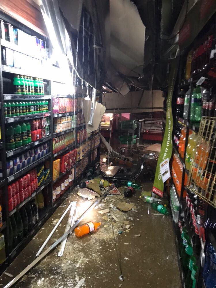 Damage at Trade Route Mall Lenasia. Flooding.