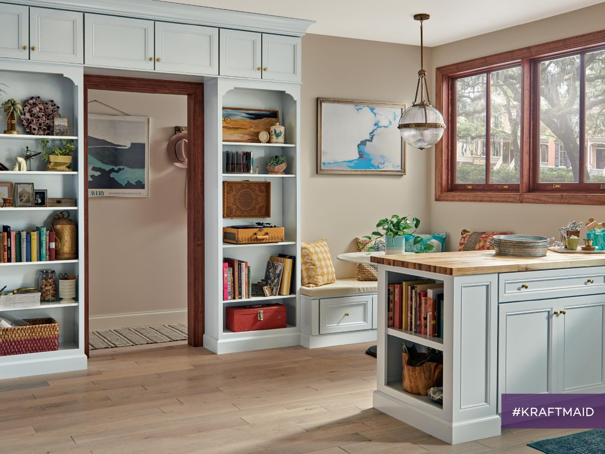 Shown Here Are KraftMaid® Maple Cabinets With Surfside Paint. Whatu0027s Your  Favorite Fun Kitchen Feature?pic.twitter.com/1rBHO8GYbO
