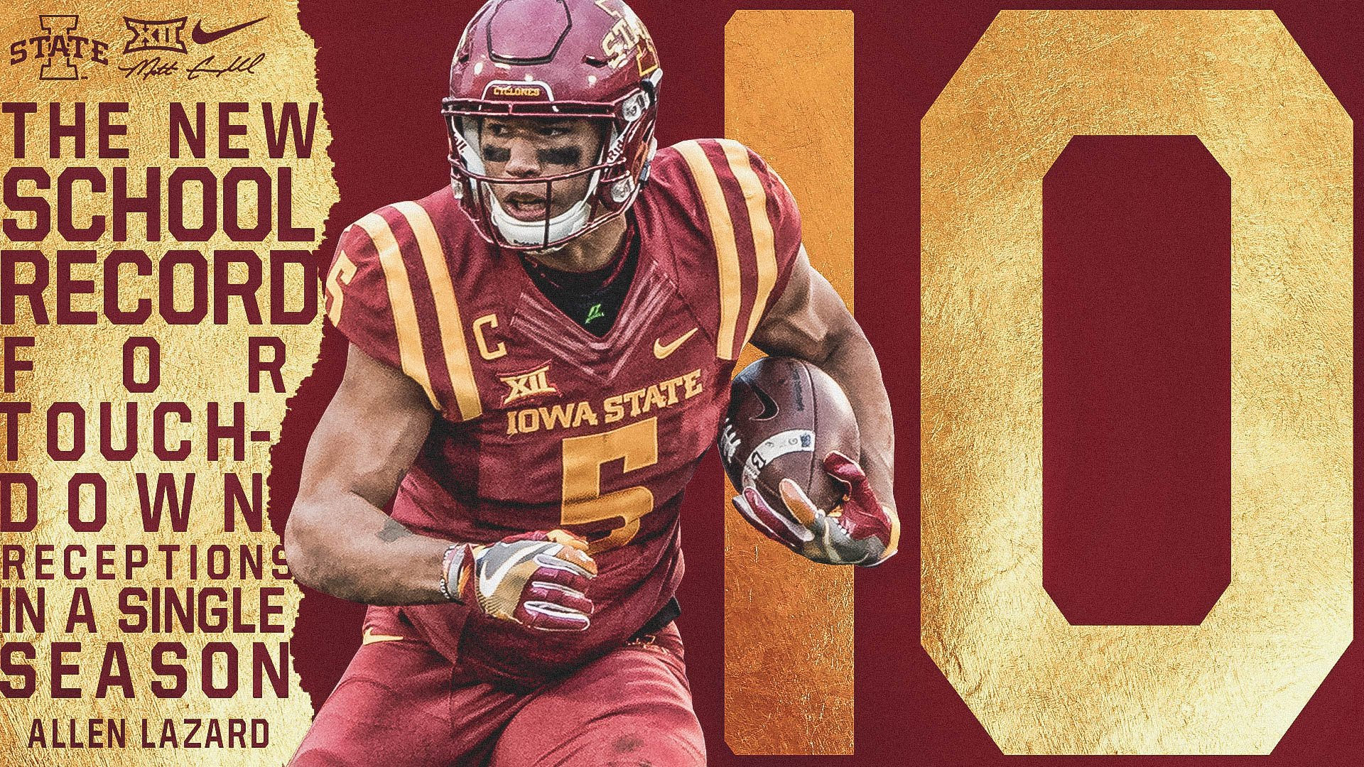 Cyclone Football On Twitter Lazard Is Isu S Season Record Holder For Td Catches In A Season With 10 Cyclones