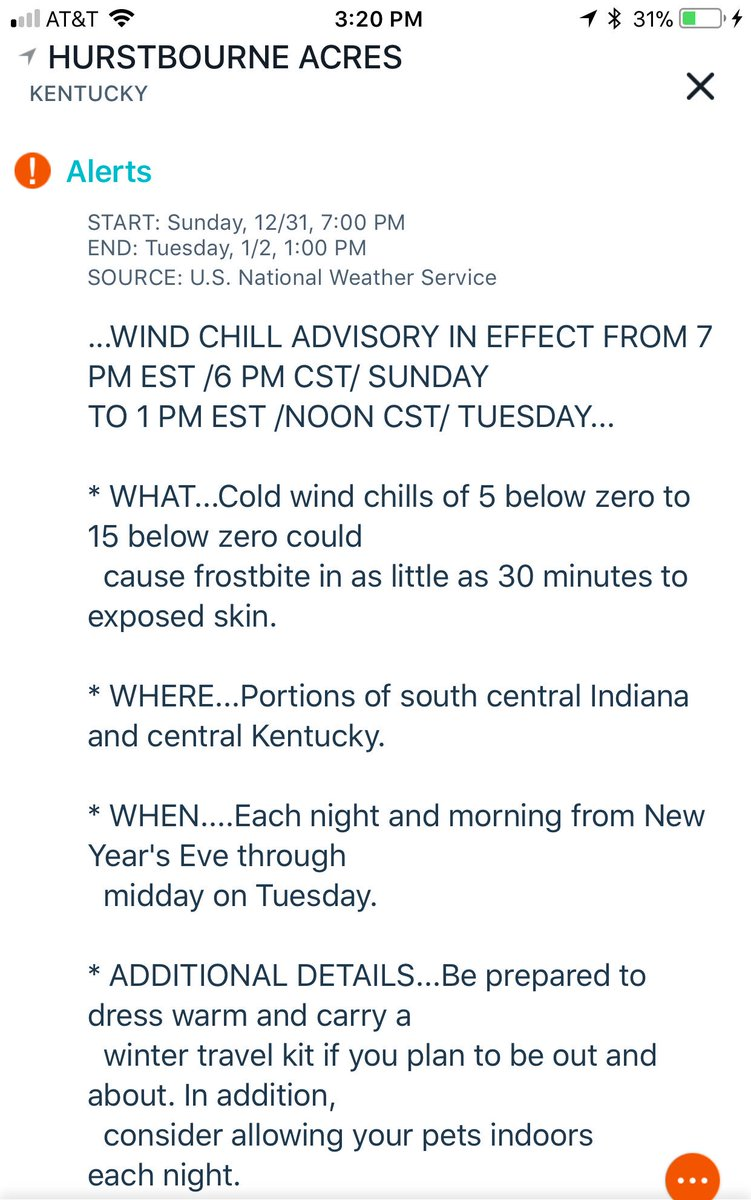 WIND CHILL ADVISORY ISSUED FOR #KENTUCKIANA @whas11