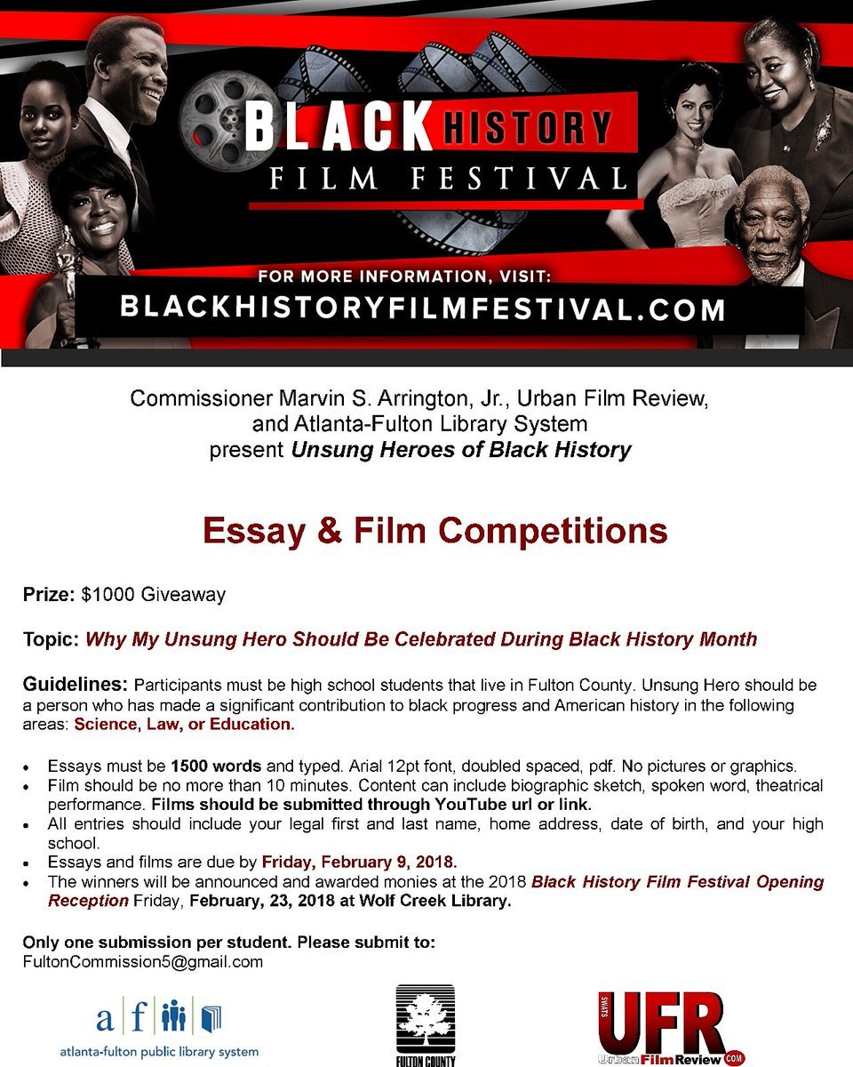 writerise writerise twitter  marvinarrington fultoncomm5 afpls wolfcreekfriend friendwclibrary lammanrucker present 2018 blkhistfilmfest essay film competition for high school