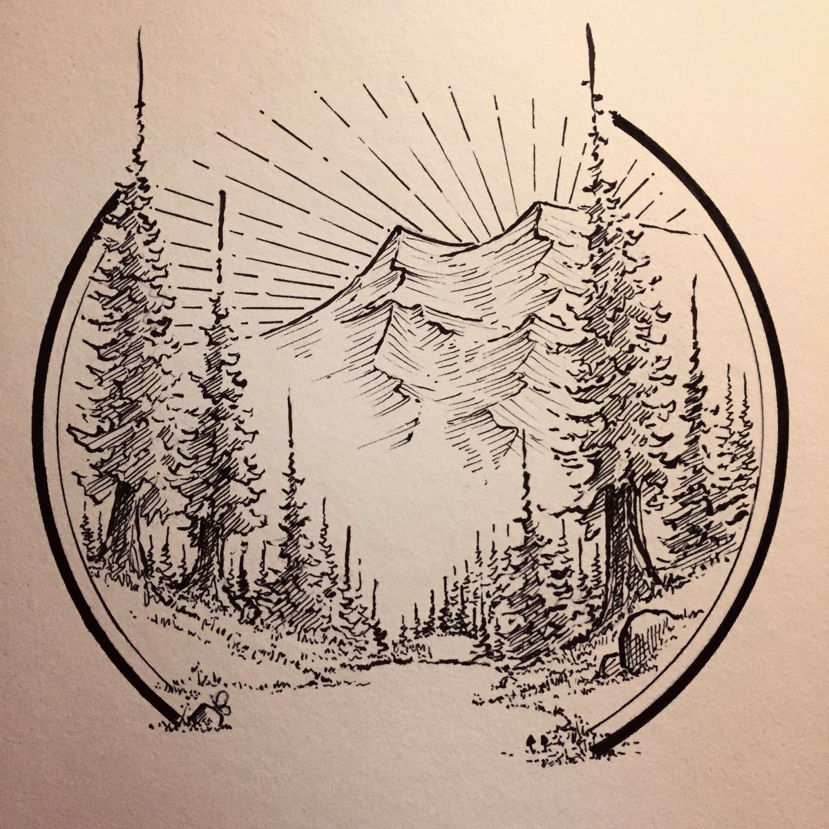 Dustybrockway On Twitter Happy Mountain Scene Draw Mountains