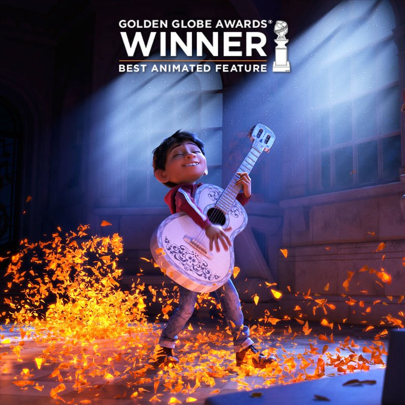#PixarCoco wins Best Animated Feature at the #GoldenGlobes! 💛✨