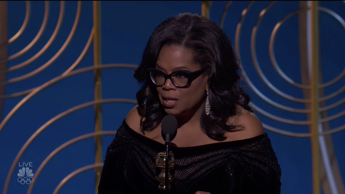 Oprah: 'We all know that the press is under siege these days, but we also know that it is the insatiable dedication to uncovering the absolute truth that keeps us from turning a blind eye to corruption and to injustice... I value the press more than ever before...'