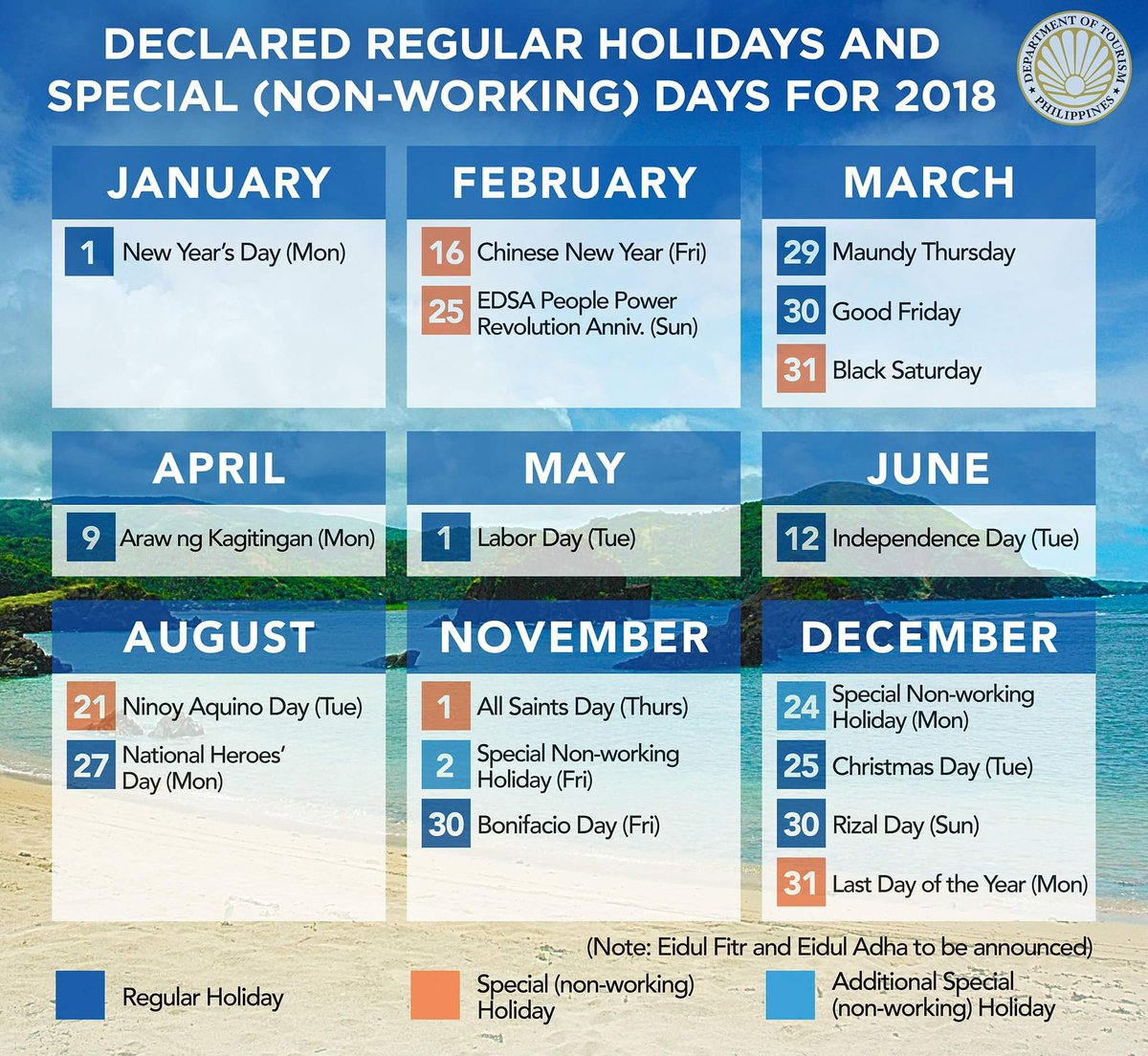 visit philippines on twitter calendar 2018 philippine public holidays and special non working days itsmorefuninthephilippines bringhomeafriend