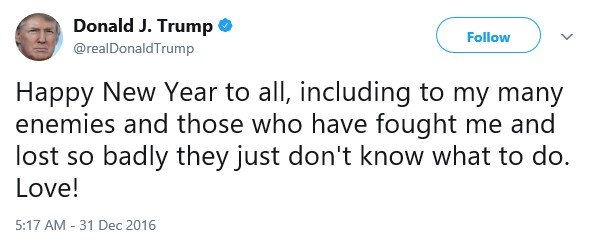 This is the second consecutive year, and fourth time in the last five years, Trump has addressed a New Year message to his 'haters' or 'enemies.' He was a normal human in 2015.