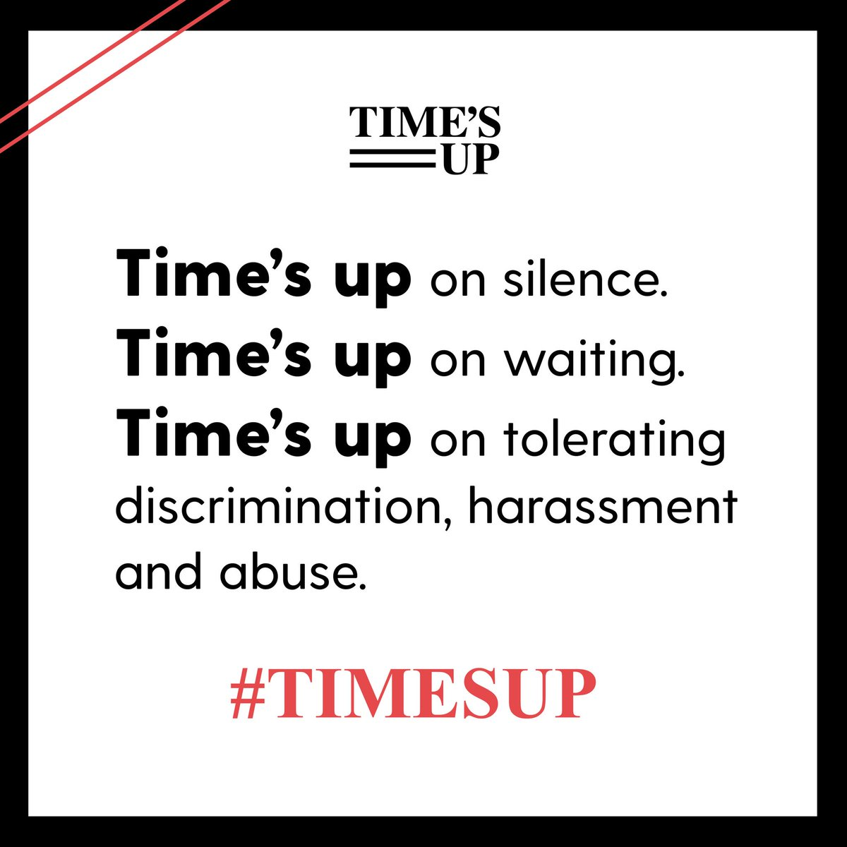 I stand with women across every industry to say #TIMESUP on abuse, harassment, marginalization andunderrepresentation.Join me! Sign thestatement of solidarity & donate to the  Leg@timesupnwal Defense Fund: https://t.co/Lw3po9Pg8Q