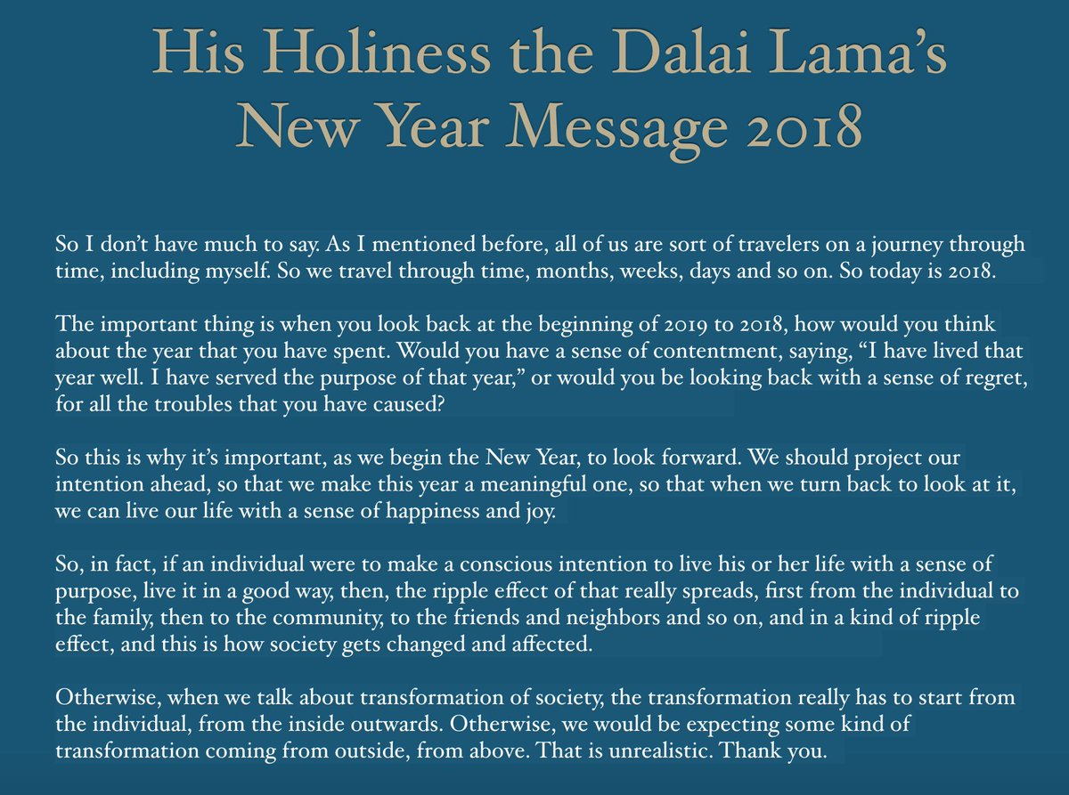 his holiness the dalai lamas advice for the new year 2018 when we talk about transformation of society the transformation really has to start from the
