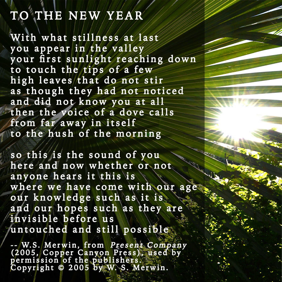 "Merwin Conservancy on Twitter: ""Take a moment to read W.S. Merwin's ""To the  New Year"" - a fitting poem for the day - from his 2005 book PRESENT COMPANY  (@CopperCanyonPrs). #HappyNewYear from"