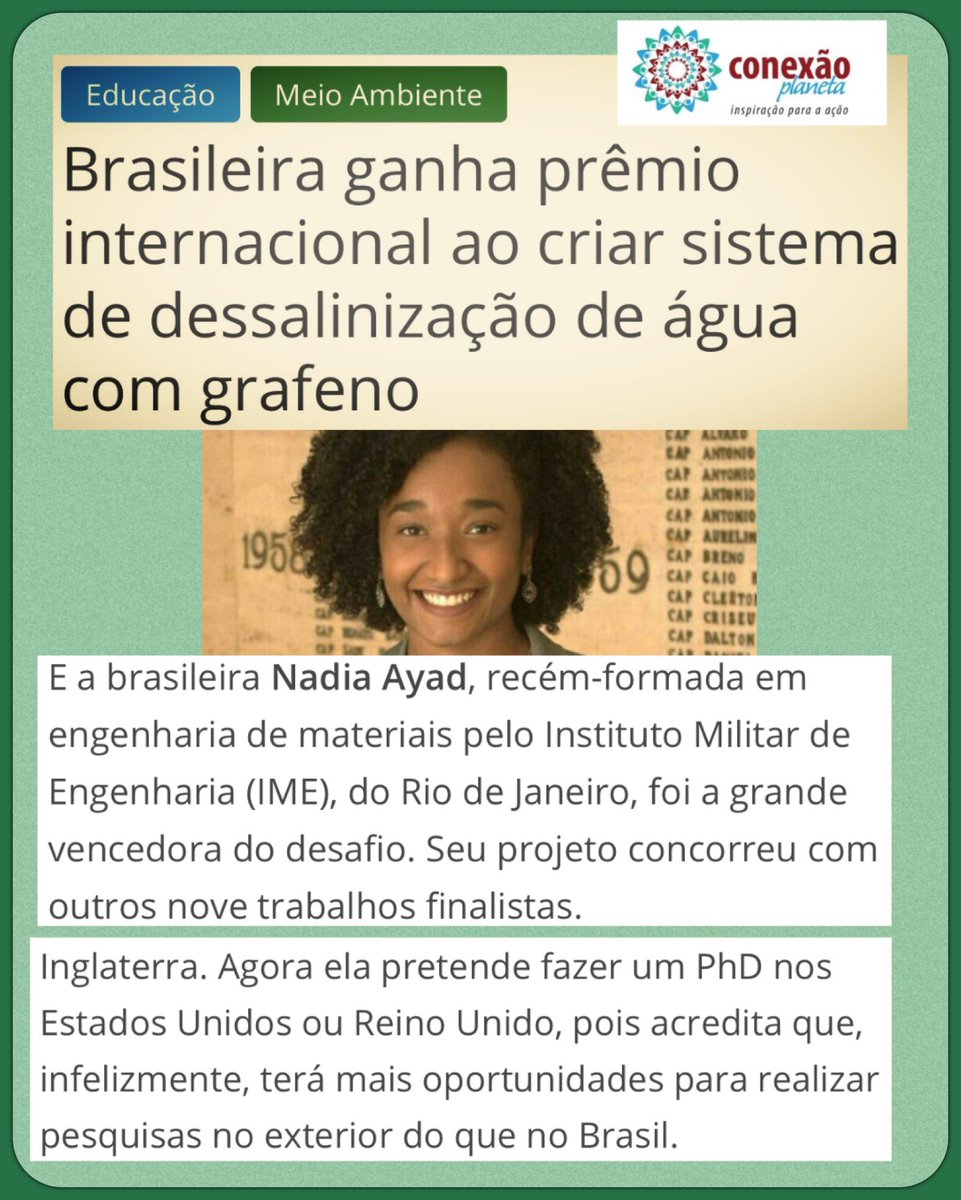ce611f8fa81 ... para esses estudos. http   conexaoplaneta.com.br blog brasileira-ganha- premio-internacional-ao-criar-sistema-de-dessalinizacao-de-agua-com-grafeno   ...