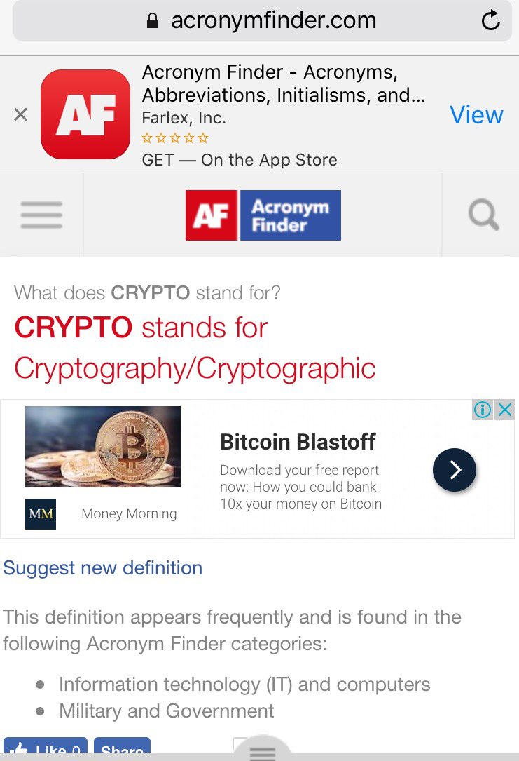 acronym for cryptocurrency