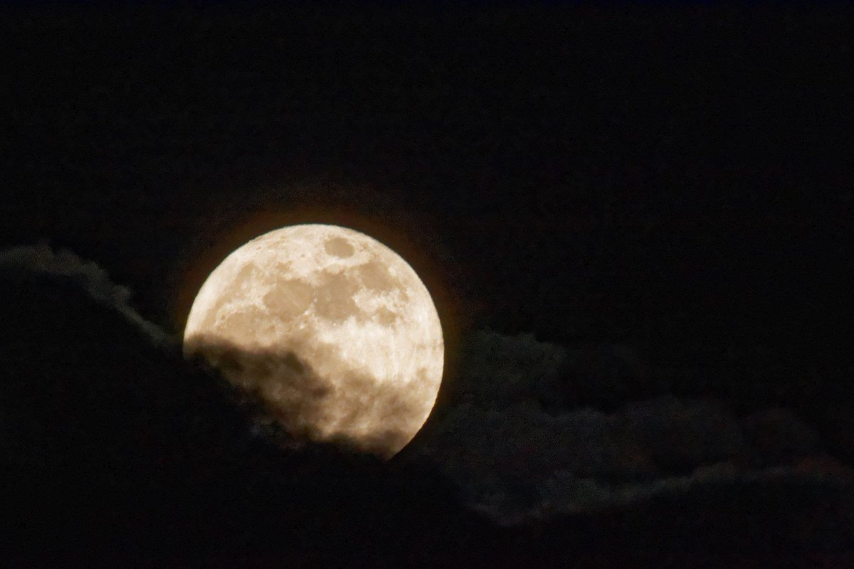 #WolfMoon flirting with clouds over ABQ...Courtesy: Frank Lerner #nmwx #supermoon