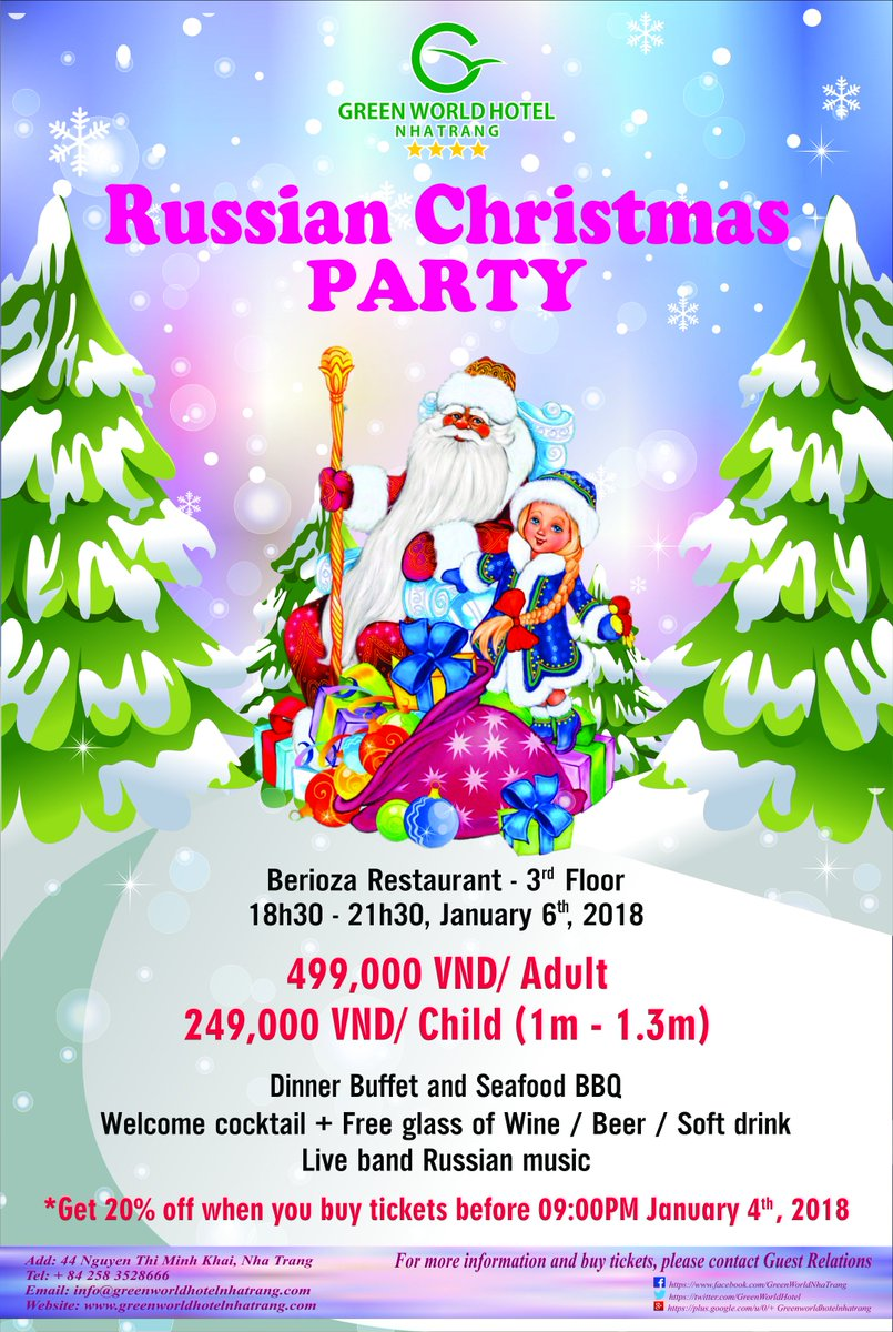 When Is Russian Christmas.Green World Hotel On Twitter Russian Christmas Party