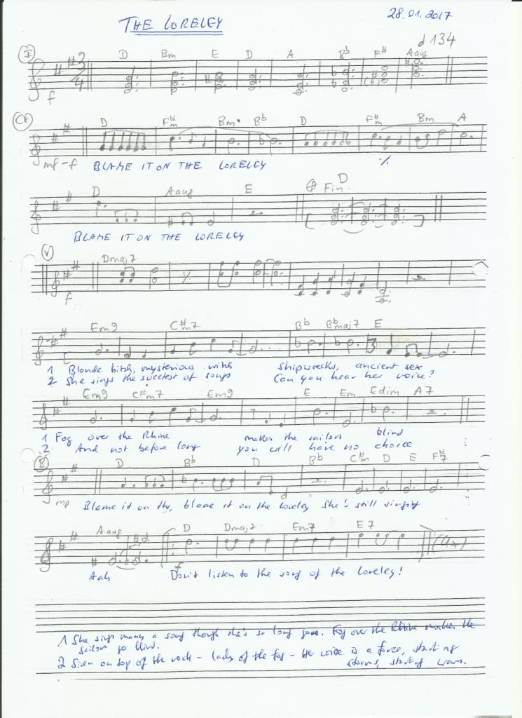 #LeadSheet for my tune THE LORELEY. #Jazz #FuturisticPop #Songwriter #SheetMusic #Melody #AdultPop #JazzBallad #JazzWaltz #ModernComposers #AvantGarde Ahem... the lyrics were revised btw, lol. pic.twitter.com/t779yTxFKL