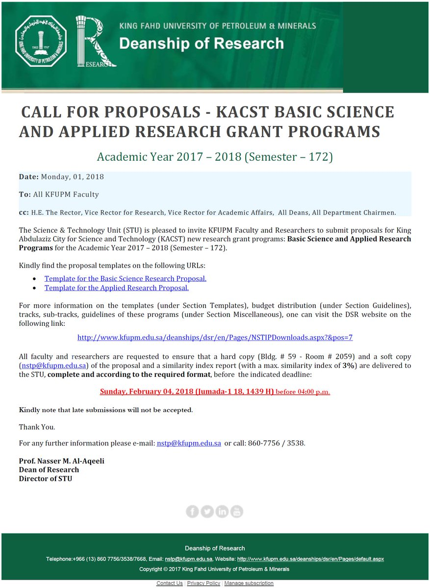 kacst research proposal