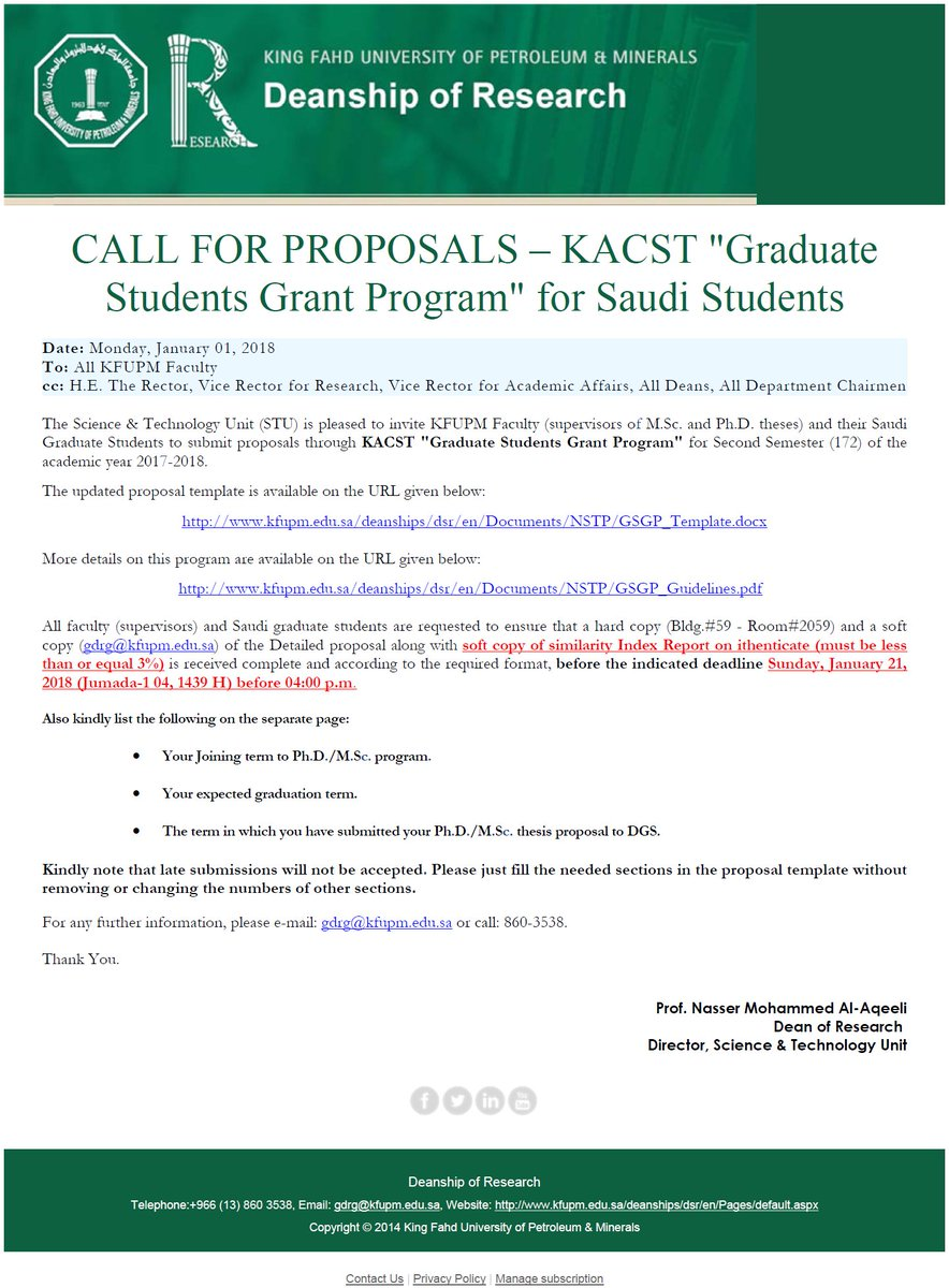 kacst research proposal