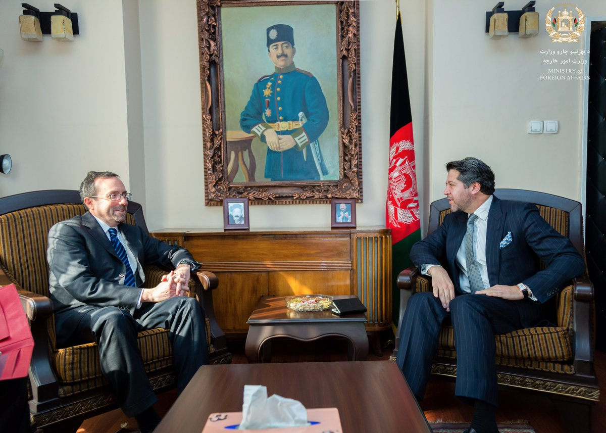 First official meeting with HE Ambassador John Bass @USAmbKabul, a career Senior Foreign Service Officer with much experience. Delighted to welcome Ambassador Bass to Kabul. @USEmbassyKabul